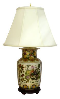 Stunning Tong Chi Satsuma style porcelain lamp from China - rosewood stand to compliment this finely detailed Satsuma porcelain - H. China Porcelain, Compliments, Oriental, Table Lamp, Lamps, Rooms, Decorations, Amazon, Home Decor