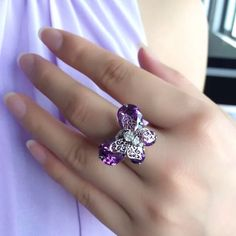 Amethyst Swarovski CZ Butterfly Ring Platinum ️Flash Sale‼️Bundle Discount Doesn't Apply During Sale‼️This ring is simply beautiful!!!  Ring Type:Adjustable Metals Type:Platinum Plated Butterfly Size:2.2cm*1.7cm Other stones are rhinestone CZ  & zircon.             Stock# 012.  ‼️DO NOT PURCHASE THIS LISTING- I will make a separate one for you‼️ Jewelry Rings