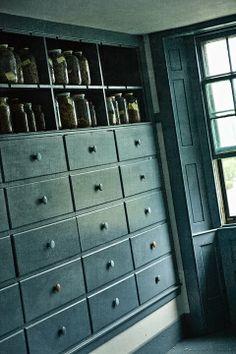 blue Shaker built in cabinet