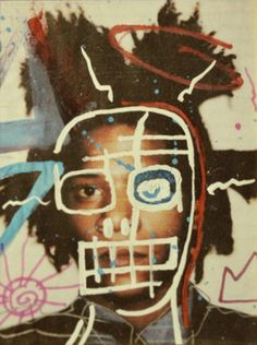 "thefiftyeight: "" Jean-Michel Basquiat - Self Portrait is this a real Basquiat painting? couldnt find much info on it… """
