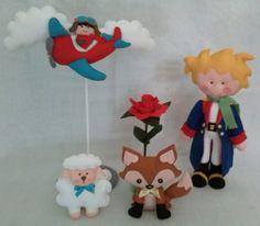 Kit Pequeno Príncipe de 30 cm fica em pé sozinho <br>, aviador em seu avião, raposa, ovelha e rosa