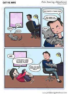 Cat vs. Wife - http://poledancingadventures.com/comic/cat-vs-wife/ Art by Leen Isabel %excerpt% #poledancingadventures #leenisabel #poledancing #SliceOfLife www.leenisabel.com www.poledancingadventures.com www.facebook.com/LeenIsabelArtist/