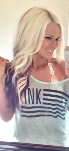I want my hair like this but reversed so brown hair with blond underneath