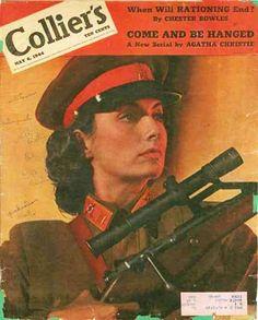 Легендарный советский снайпер Людмила Павличенко, уничтожившая 309 фашистов, на обложке американского журнала, 1944 год.