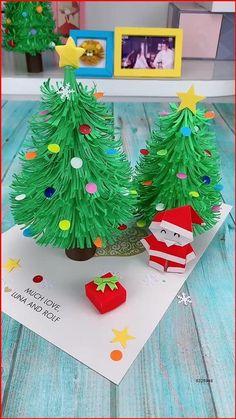Christmas Arts And Crafts, Christmas Activities, Handmade Christmas, Halloween Crafts, Holiday Crafts, Christmas Diy, Christmas Cards, Christmas Tree Paper Craft, Christmas Decorations Diy Easy
