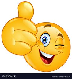 Vektor: Thumb up winking emoticon emoji funny Smiley Emoji, Smiley Faces, Funny Smiley, Images Emoji, Emoji Pictures, Animated Emoticons, Funny Emoticons, Funny Emoji Faces, Cute Emoji