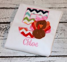 Girls Turkey Birthday Shirt. This adorable turkey ready to celebrate your childs big day.  Need a different color scheme? Just message me and