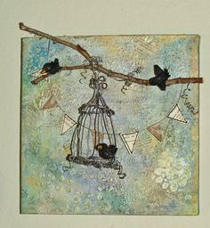 Mixed Media Canvas - I like the real twig, especially extending beyond the canvas.