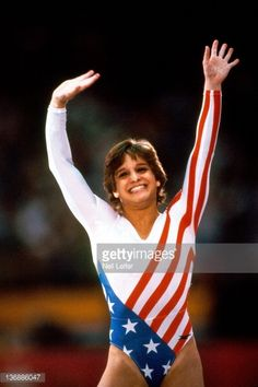 1984 Summer Olympics Closeup of USA Mary Lou Retton victorious during competition at Pauley Pavilion Los Angeles CA 8/3/1984 CREDIT Neil Leifer