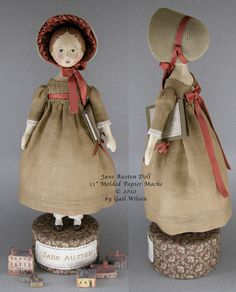 Jane Austen doll by Gail Wilson. I bought this kit, and Gail painted her head.  Very special one-of-a-kind!