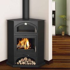 wood stove corner living room | corner wood stove | Bronpi Atenas Corner Wood Burning Cooking Stove ...