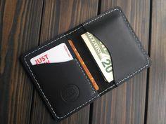 Black leather cardholder Brown card holder gift Wallet for men women Minimalist case Leather Card Wallet Groomsmen gift FREE PERSONALIZATION Black Wallet, Small Wallet, Pocket Wallet, Leather Men, Black Leather, Distressed Leather, Leather Bags, Leather Craft, Hobbies For Men