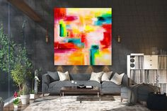 Large Painting on Canvas,Extra Large Painting on Canvas,canvas custom art,square painting,large interior art FY0080