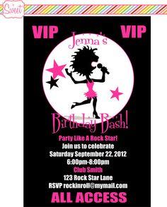 Rock Star/Pop Star/Singer Backstage Pass Lanyard DIY Printable Invitations