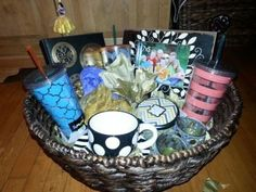Bridal shower game prize basket.  See more fun bridal shower games and bridal shower ideas at www.one-stop-party-ideas.com