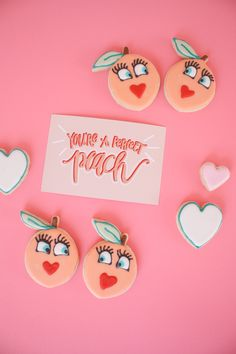 Vintage Valentine's Sugar Cookies and Free Hand-Lettered Cards - The Alison Show My Funny Valentine, Vintage Valentines, Be My Valentine, Valentine Gifts, Sugar Cookies, Peach Cookies, Fruit Cookies, Youre A Peach, All Things Cute