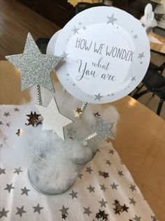 Star centerpiece from a rustic Twinkle Star Gender Reveal baby shower on KARA& . - Pin all you love - Baby Shower Table, Baby Shower Parties, Baby Shower Themes, Baby Boy Shower, Shower Ideas, Cloud Baby Shower Theme, Diy Shower, Shower Favors, Shower Invitations