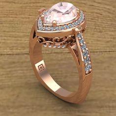 Morganite Ring Pear Diamond Halo Ring by CharlesBabbDesigns