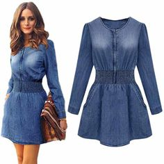2016 New Vintage Spring Women Long Sleeved Slim Casual Denim Jeans Party Mini Dress