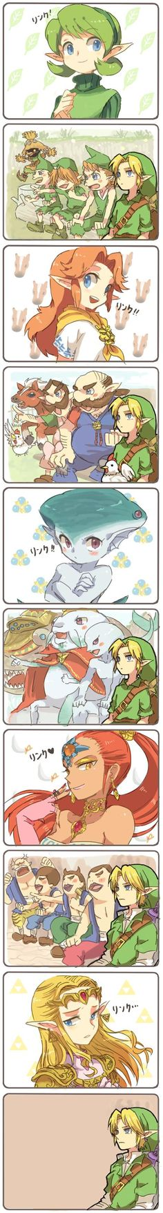 LoL I hate how I can't understand this, but it's still amusing to me! XD I love how Link be pimping, but only wants Zelda!