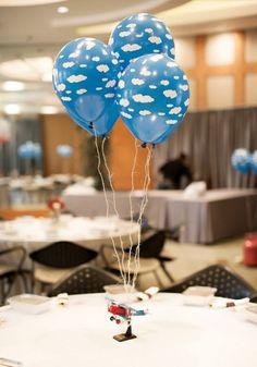 airplane cloud balloon centerpiece idea