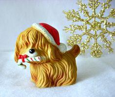 Vintage Lefton Christmas Figurine Shaggy Puppy Dog by GSaleHunter