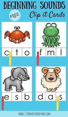Beginning Sound Kindergarten Activity: FREE Beginning Sounds Clip it Cards are a great way to help toddler, preschool and kindergarten age children who are beginning to learn letters and their sounds practice in a fun way (phonics, homeschool, preschooler)