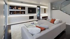 living room panel with accent wall and shelf lighting this  is ideal