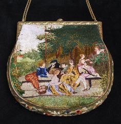Vintage Silk Stitch Figural Needlework Purse Scenic Bag from everydaysagift on Ruby Lane