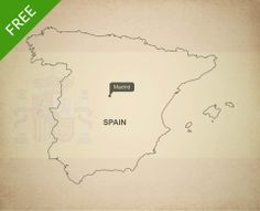 Map of Spain outline - Free vector format and JPEG download. Royalty free high resolution JPEG and vector format (layered, editable, AI, EPS and PDF).