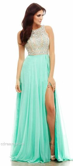 This dress is mint green with sequins