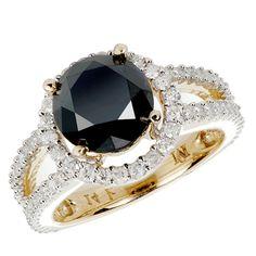 Black diamond yellow gold ring <3