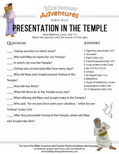 Free Bible Quiz: Presentation in the Temple. Printable Bible lessons for Homeschoolers, Sunday School and Sabbath School students and teachers. Scriptures For Kids, Bible Study For Kids, Bible Lessons For Kids, Sunday School Activities, Bible Activities, Bible Games, Bible Questions For Kids, Adventure Bible, Devotions For Kids