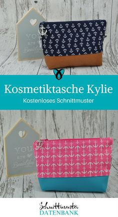 Cosmetic bag Kylie- Kosmetiktasche Kylie Make-up bag sewing pattern free Kylie free Freebie Freebook - Bag Sewing Pattern, Bag Patterns To Sew, Sewing Patterns Free, Sewing Tutorials, Free Pattern, Sewing Projects, Diy Projects, Kylie, Gel Nail Art Designs