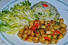 Arroz com Alho Poro e Tofu ~ Veganana