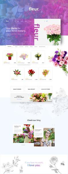 Fleur #flowers #flowershop #ecommerce #wordpress #theme #composer #gradient #purple #pink