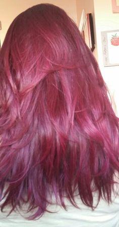 Manic panic shocking fushia on dark hair Non bleached! In sun light