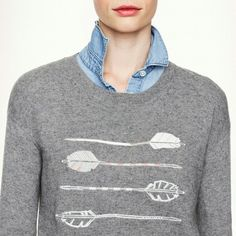 J Crew OnTrend Arrow Sweater! JCREW Arrows Sweater. . crop sweater with elbow length sleeves grey with on trend arrows embroidered on the front. Label is large but would fit more like a small or medium.  Worn  a few times. J. Crew Tops