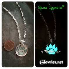 """Wolf paw with glowing paw print pendant on matching silver plated link chain with lobster clasp. Wear in sunlight, glows in the dark. Chain is 20"""" Also available in antiqued bronze"""