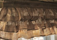 A country chic burlap valance, made in a natural color burlap fabric. This valance works great in industrial chic decor, rustic urban decor, Burlap Projects, Burlap Crafts, Home Projects, Burlap Valance, Ruffle Curtains, Brown Curtains, Short Curtains, Yellow Curtains, Double Curtains