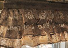 Brown Burlap Ruffled Curtains