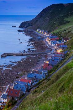 """Evening at Crovie or """"Crivvie"""" on Aberdeenshire coast, Scotland."""