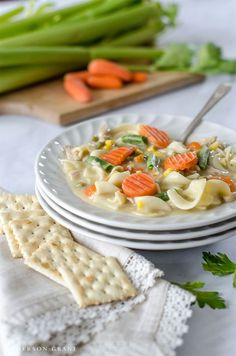 You'll want to make this easy Creamy Chicken Noodle Soup with vegetables for supper tonight!