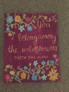 Theta phi alpha, canvas, sorority canvas, wildflower, flowers, script, canvas quote