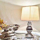 ONLYCLIC STEFFI Tischlampe Silber Weiß Keramik Shabby Chic Tischleuchte Keramiklampe