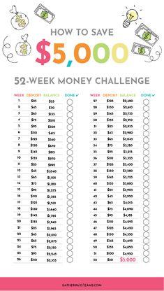 26 week money challenge $5000 pdf