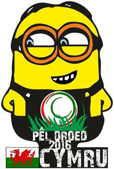 CYMRU WALES MINION FOOTBALL T SHIRT PEL DROED EUROPEAN Euro 2016 WELSH LANGUAGE
