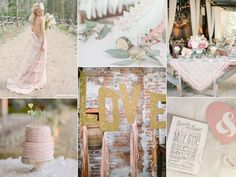 Rustic blush pink wedding inspiration board with a ruffle pink wedding dress, pink ruffle wedding cake, barn reception and shabby-chic details.