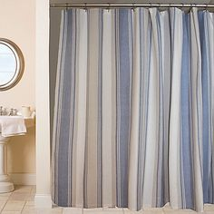 Make A Chic Contemporary Statement In Your Bath With The Clearwater Stripe Shower Curtain