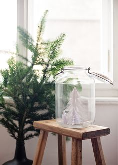what a simple, sweet little idea - would even be cute with smaller trees in a mason jar!! from 79 Ideas